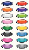 Vector illustration of sixteen shiny oval buttons with silver trim.