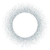 Silver vector glitter circle frame
