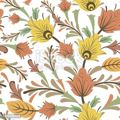 istock Silver vegetable seamless pattern. Cool ornament. Interlacing of branches and flowers. Background illustration. Elegant fashionable. Flat isolated background. Vector 1330495449