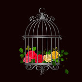 Silver vintage bird cage with multicolored roses. Vector illustration
