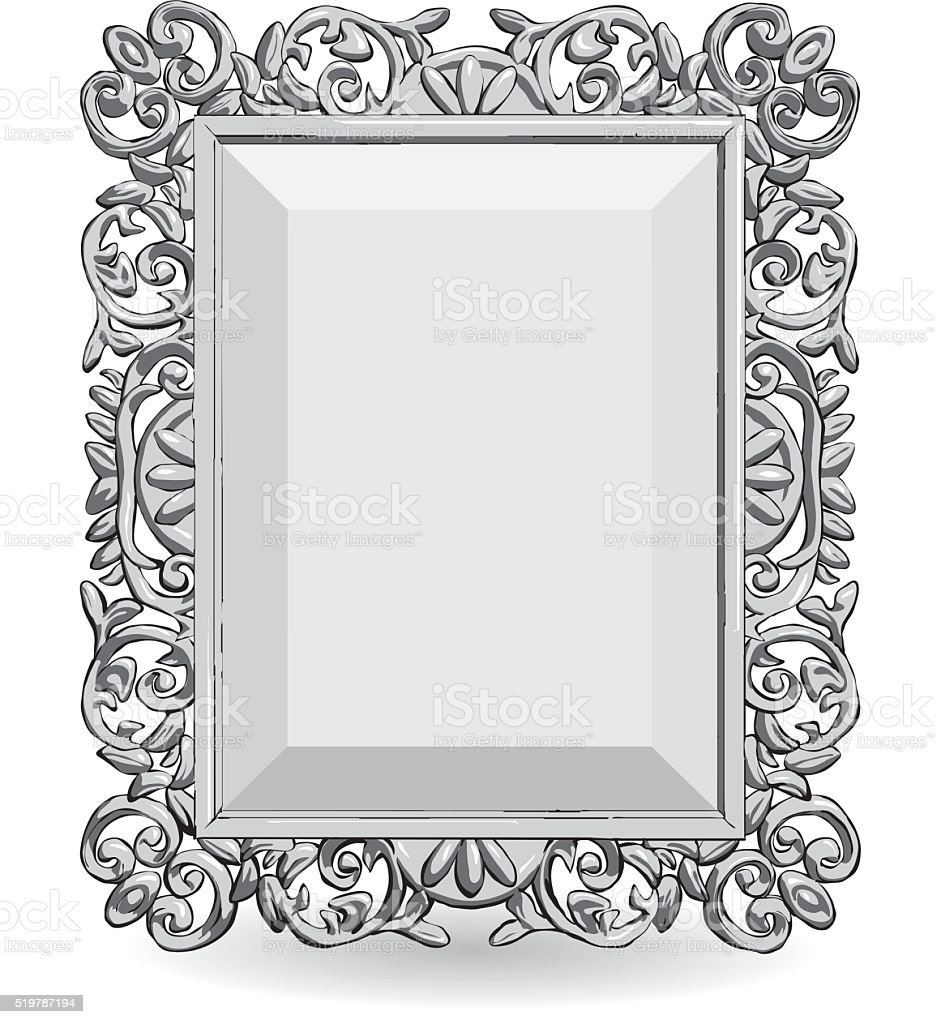 Silver Vintage Frame Isolate On White Background Stock Vector Art ...