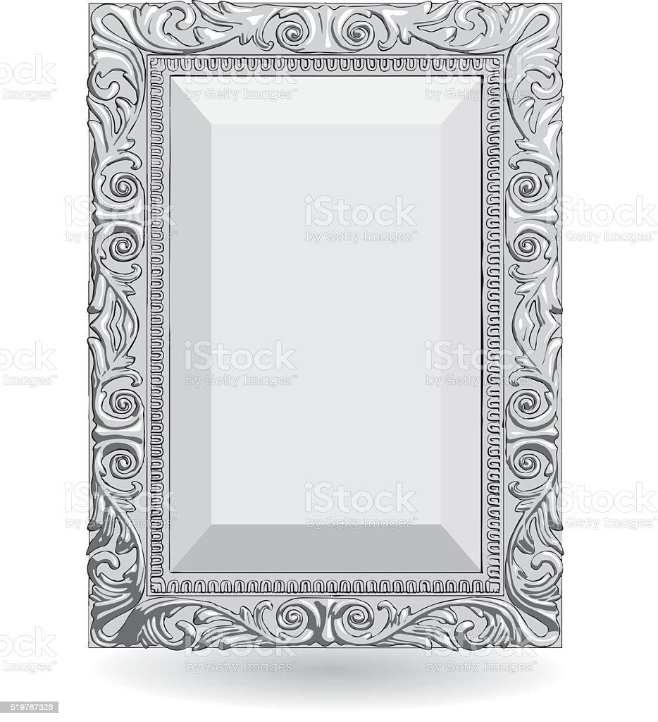 Серебряный Винтажная рамка изолировать на Белый фон векторная иллюстрация