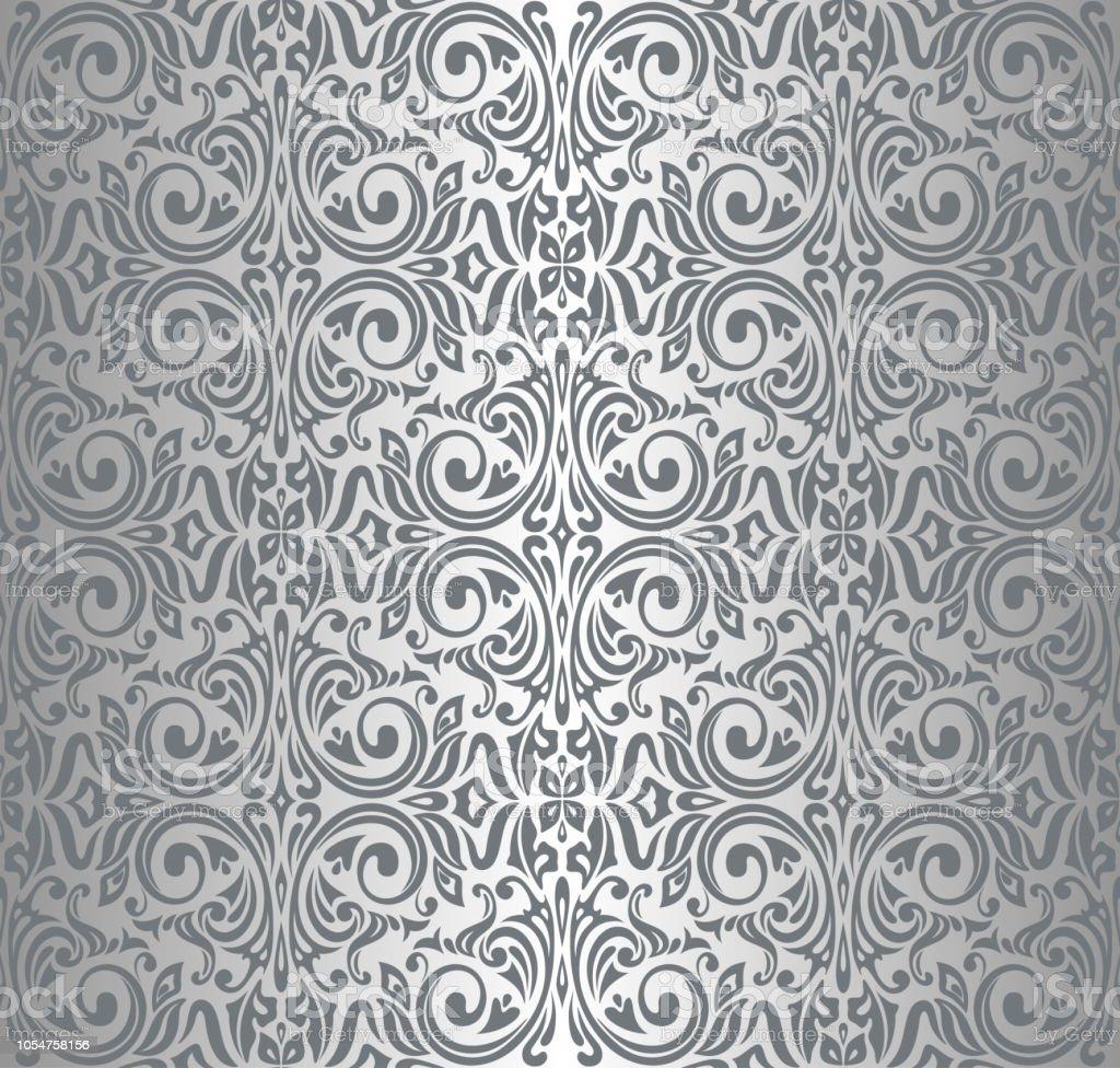 銀のビンテージの反復的な壁紙デザイン まぶしいのベクターアート