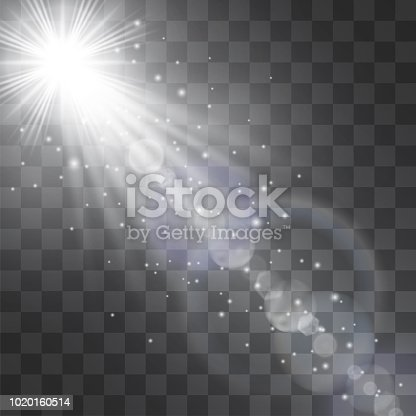 Silver white glowing vector spotlight effect, star floodlight, projector rays with sun shining cold halo. Decorative glittering snow dust. Flares and hotspots design details on transparent background.
