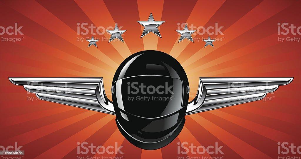 Silver Winged Helmet Racing Emblem royalty-free stock vector art