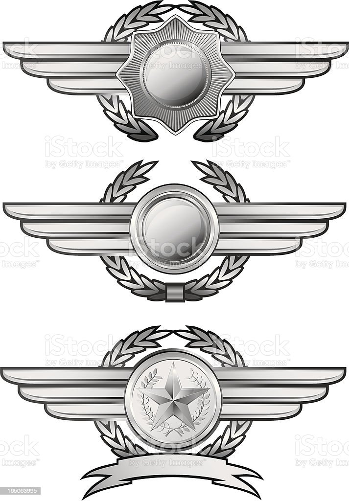 Silver winged insignias royalty-free stock vector art