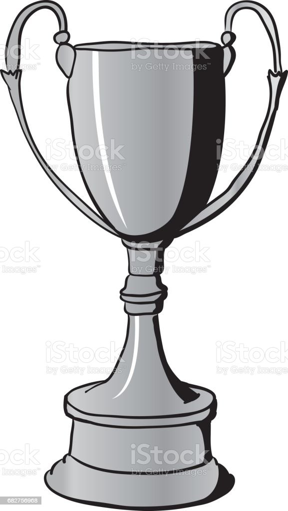 Silver Winners Cup vector art illustration