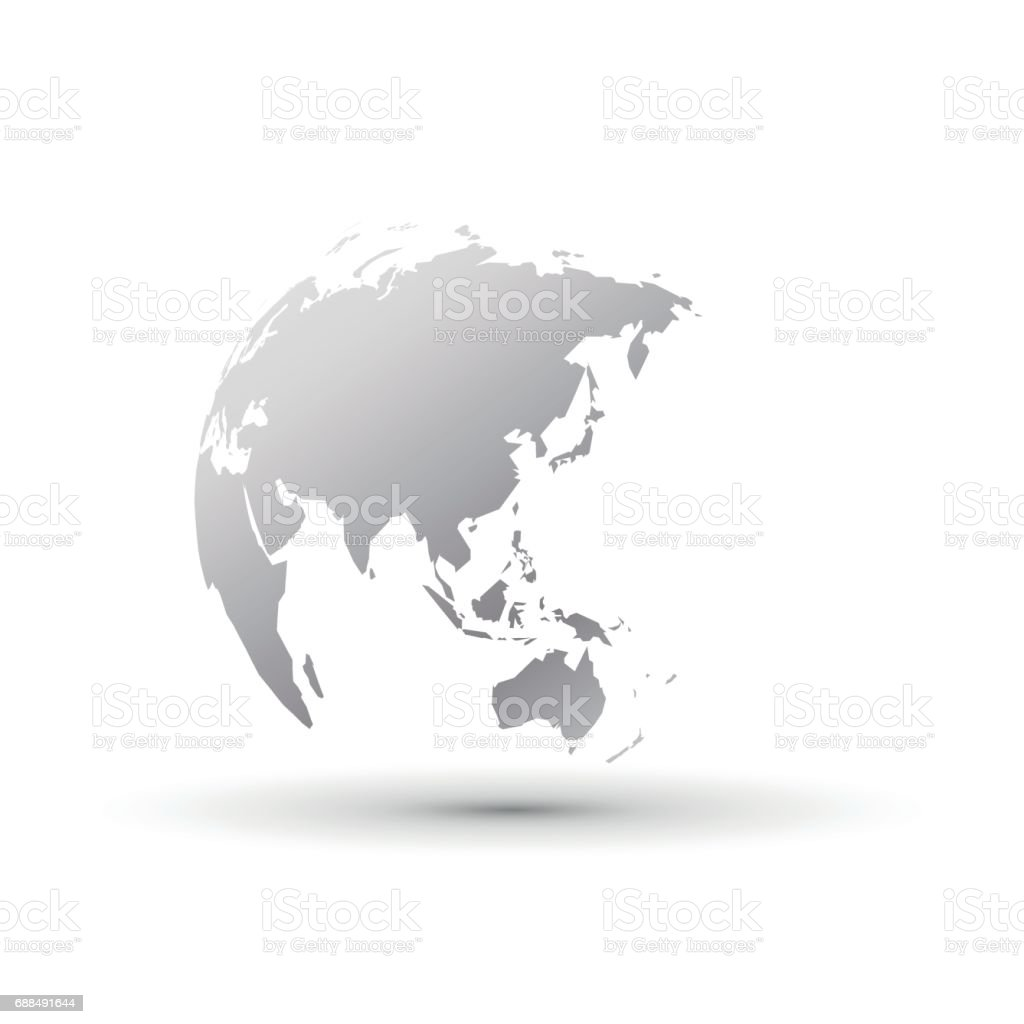 Silver World Globe Asia Japan Stock Illustration - Download Image Now