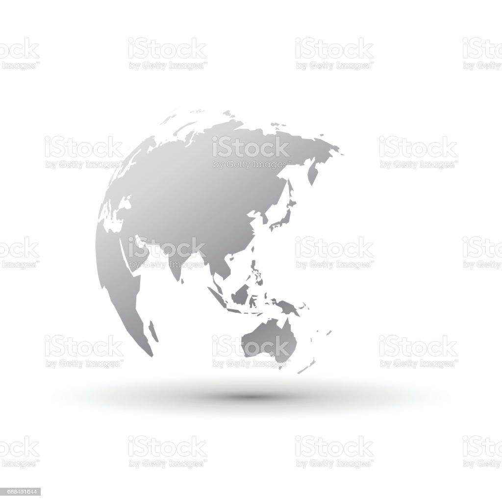 plata mundial globe asia de Japón - ilustración de arte vectorial