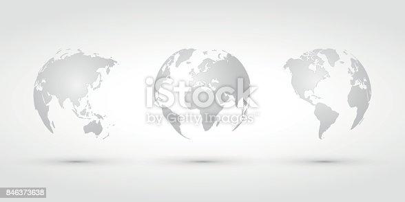 modern style silver world globes