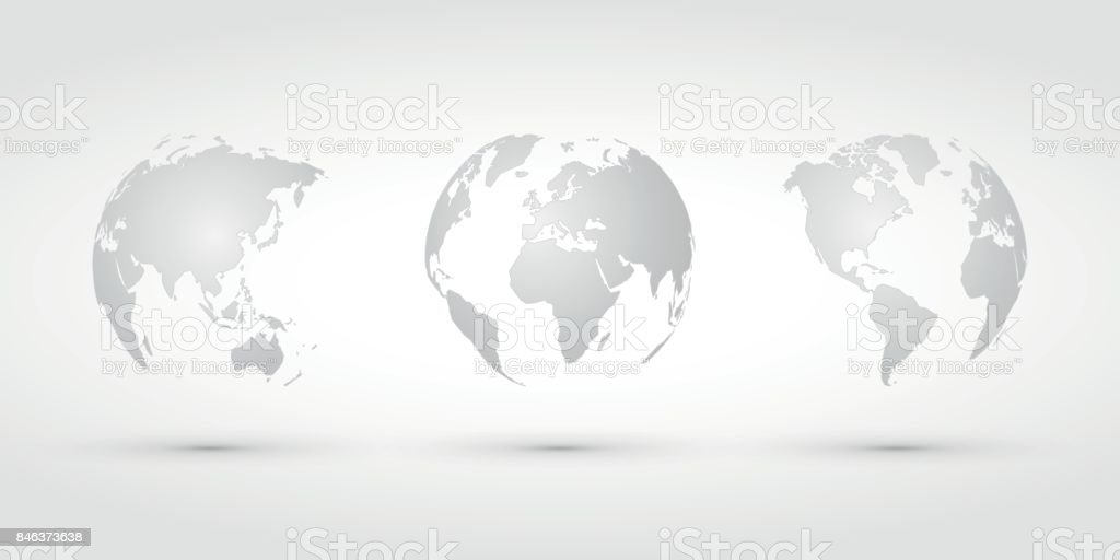 silver world globes vector art illustration