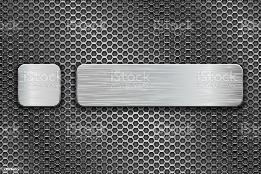 Silvered glass buttons on metal perforated background vector art illustration