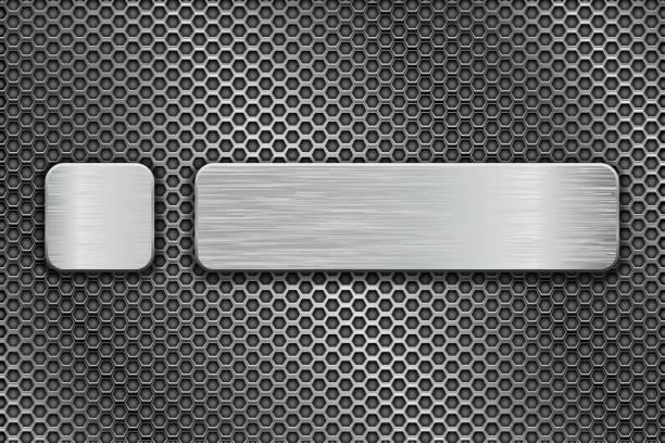 金屬穿孔背景鍍銀玻璃按鈕向量藝術插圖