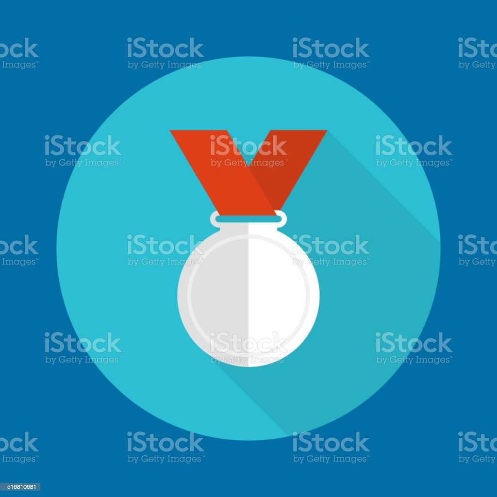 Silvermedal with red ribbon. vector art illustration