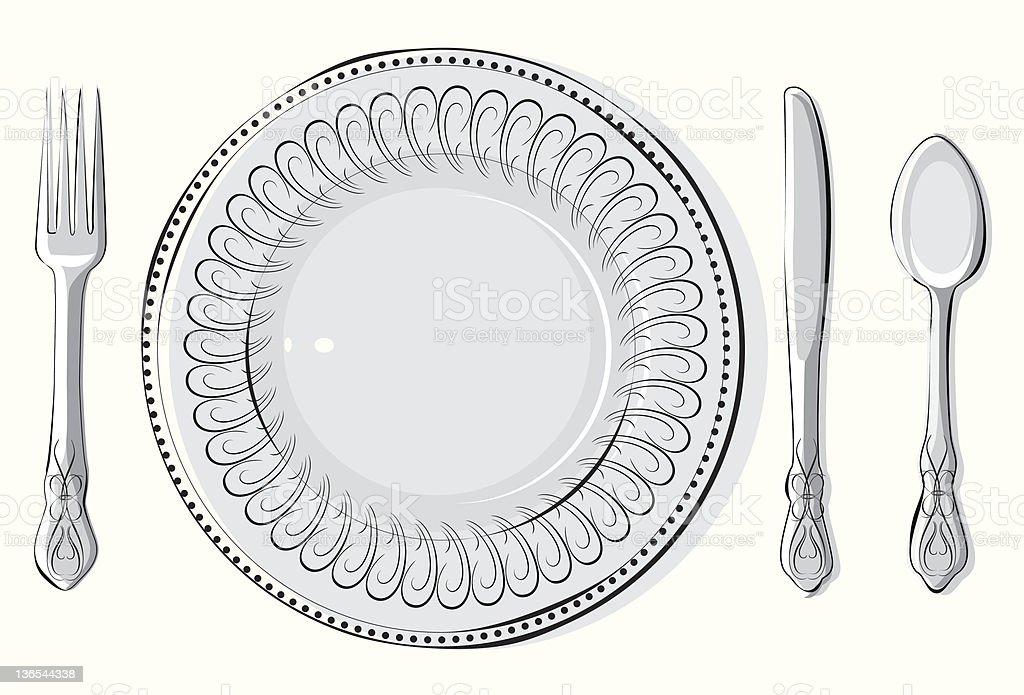 Silverware & plate royalty-free stock vector art