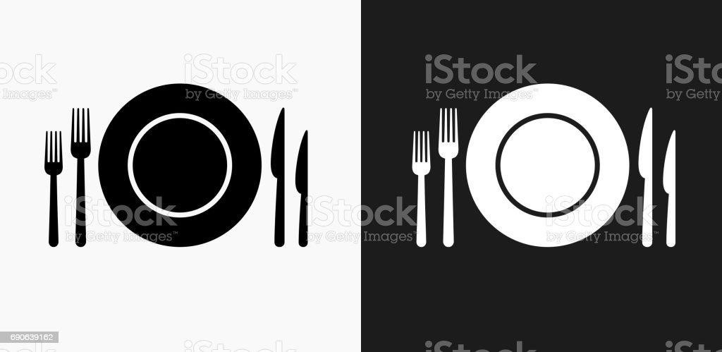 Silverware and Plate Icon on Black and White Vector Backgrounds