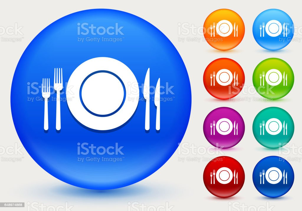Silverware and Plate Icon on Shiny Color Circle Buttons vector art illustration