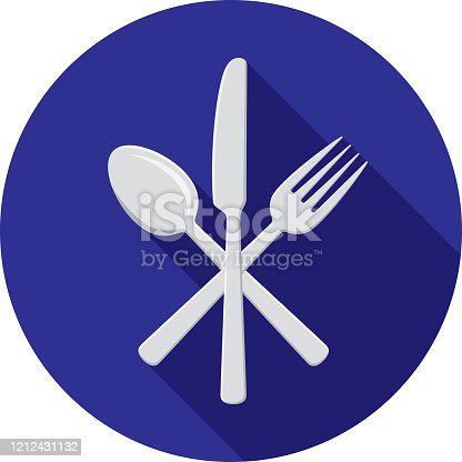 Vector illustration of a crossed fork, knife, and spoon against a blue background in flat style.