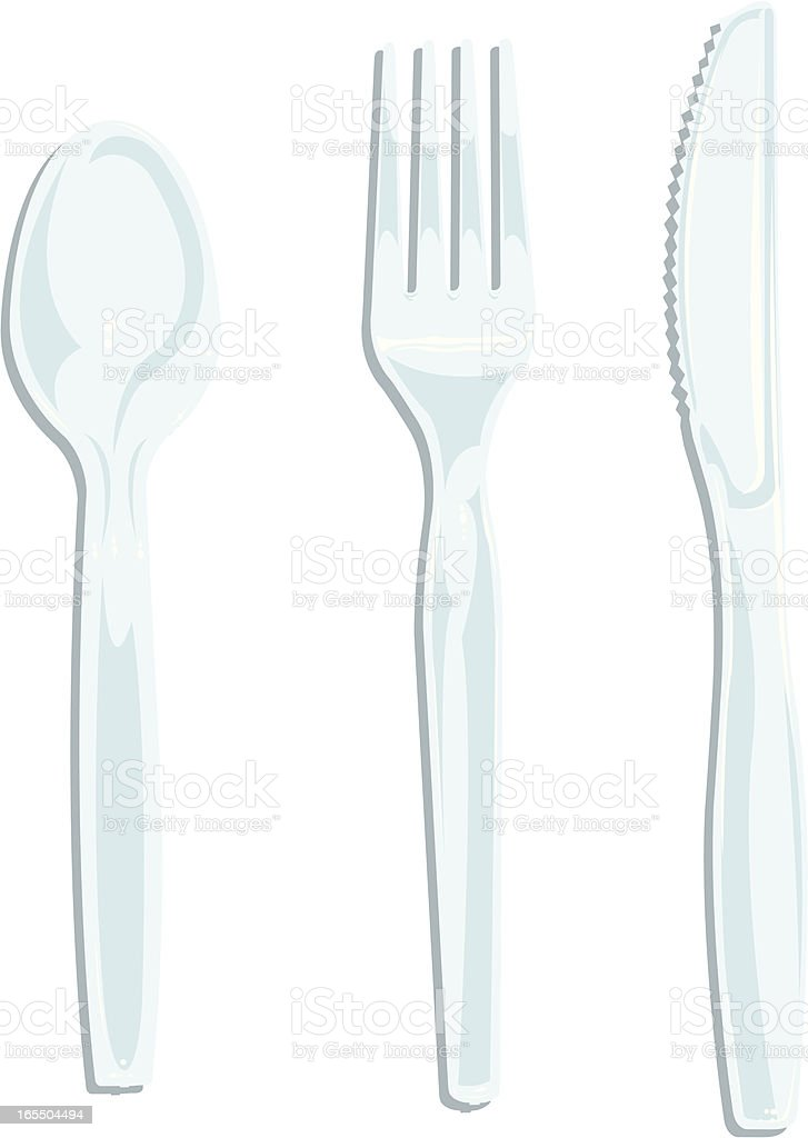 Silverware - Plastic Knife, Fork, Spoon vector art illustration