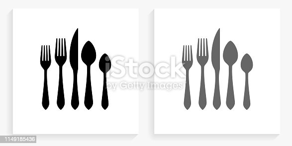 Silverware Set Black and White Square Icon. This 100% royalty free vector illustration is featuring the square button with a drop shadow and the main icon is depicted in black and in grey for a roll-over effect.