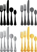 Set of Vector silverware in four color options.