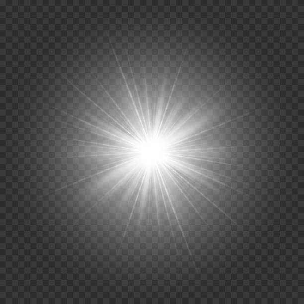 Silvery bright star Bright star with silver rays on a transparent background. Vector illustration with light effect blinking stock illustrations