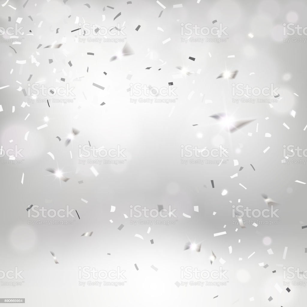 Silvery Falling Confetti vector art illustration