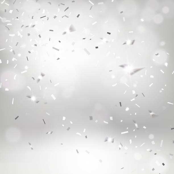 Silvery Falling Confetti vector art illustration