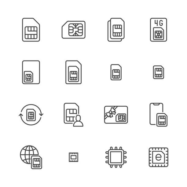 sim kart düz çizgi simgeleri ayarlayın. mikro, nano simcard, yeni esim teknolojisi, cep telefonu çip vektör çizimler. elektronik mağaza için anahat işaretleri. piksel mükemmel 64x64. kullanılabilir vuruşlar - bilgisayar yongası stock illustrations
