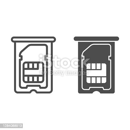 istock Sim card in tray for smartphone line and solid icon, smartphone concept, microchip for mobile devices sign on white background, sim card in slot icon in outline style for web design. Vector graphics. 1284088513
