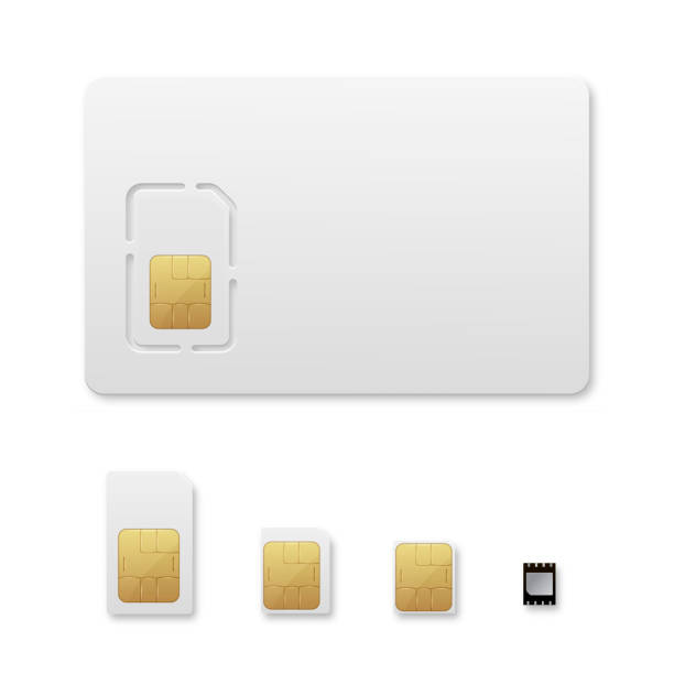 Sim card types realistic vector illustrations set vector art illustration