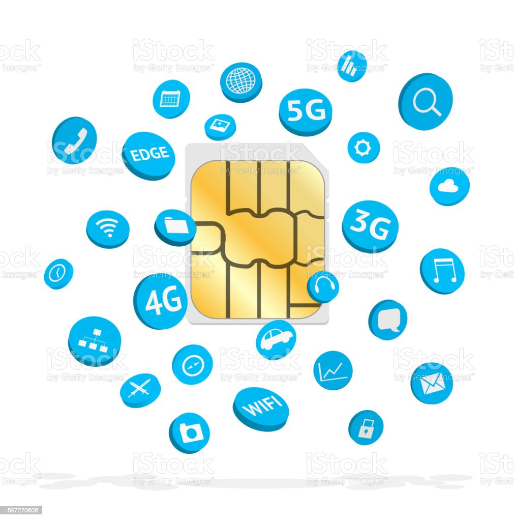 sim card with connection apps icon floating Lizenzfreies sim card with connection apps icon floating stock vektor art und mehr bilder von 3g