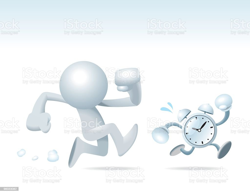 Sim man Chasing the Time vektör sanat illüstrasyonu