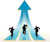 Team of businessmen racing to the top. Properly grouped with high resolution jpg. More Concept Series Lightbox