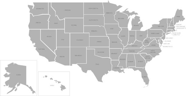 Simlified vector map of USA Simlified vector map of United States of America with full names americana stock illustrations