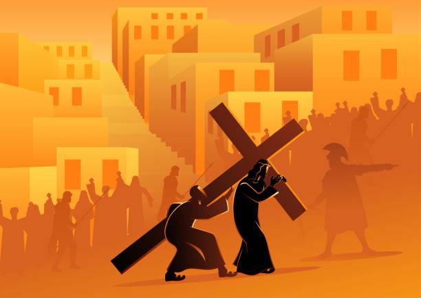 illustrazioni stock, clip art, cartoni animati e icone di tendenza di simon of cyrene helps jesus carry his cross - portare