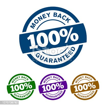 istock Simple 100% Money Back Guaranteed Vector badge icon with colorful variants ribbon on top isolated on white background. 1270736782