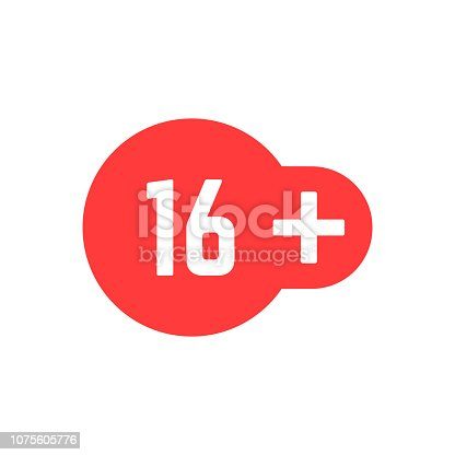 simple 16 plus red icon. concept of ui emblem, unusual ban symbol, censure, adult permit, x-rated, age limit mark. flat style trend modern graphic stamp badge design on white background