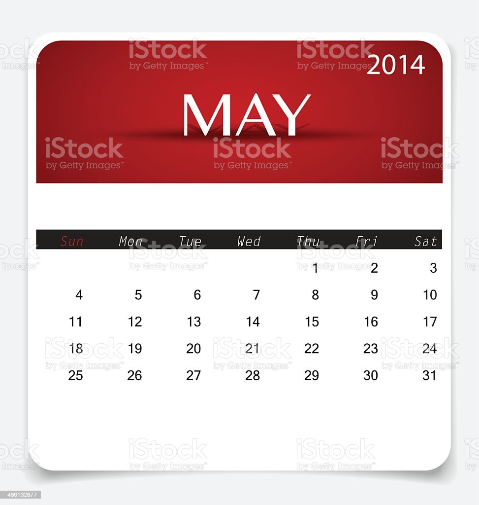 Simple 2014 calendar, May. Vector illustration. royalty-free stock vector art