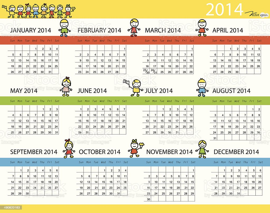 Calendario Anno 2014.Semplice Calendario Anno 2014 Vettoriale Illustrazione