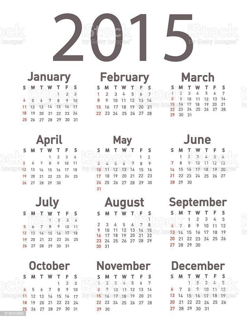 Simple 2015 year calendar vector art illustration