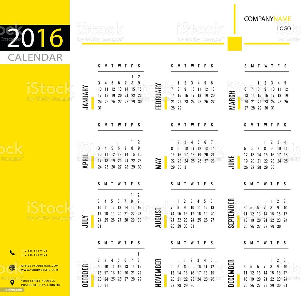 Office Calendar 2016 : Simple calendar template for office and private use stock