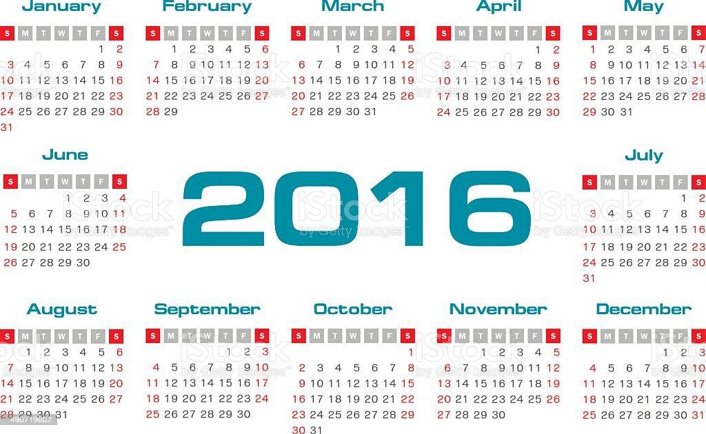 Calendario Anno 1980.Semplice 2016 Anno Vettoriale Calendario Immagini