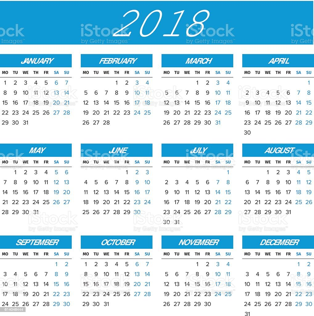 Simple 2018 Year Calendar stock vector art 614046444   iStock