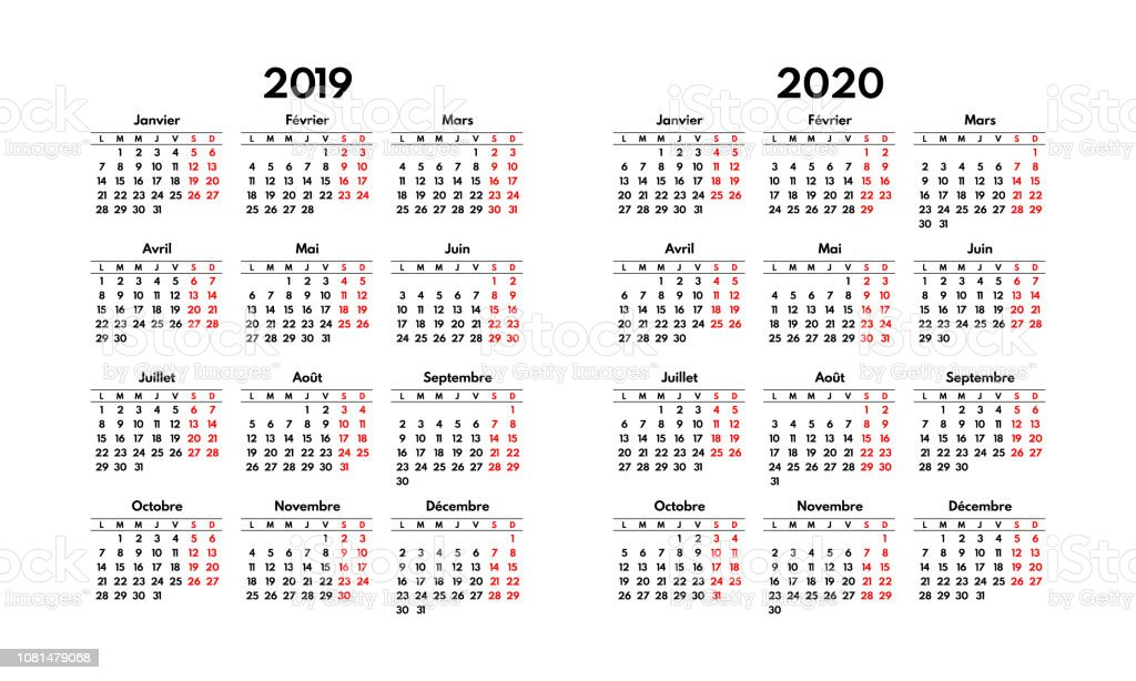Calendrier Top 14 2020 2020.Simple 2019 2020 French Calendar Grid Starts Monday Two
