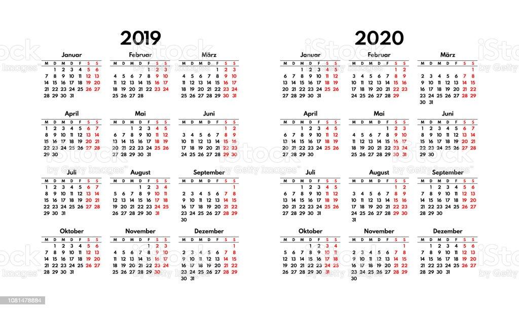 Calendrier Allemand 2020.Grille De Calendrier Allemand 2019 2020 Simple Commence