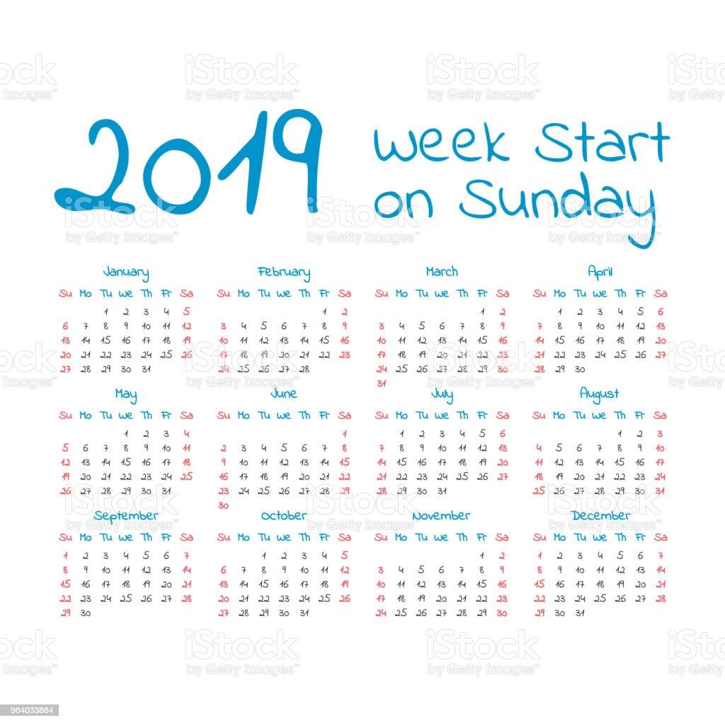 Simple 2019 year calendar - Royalty-free 2019 stock vector