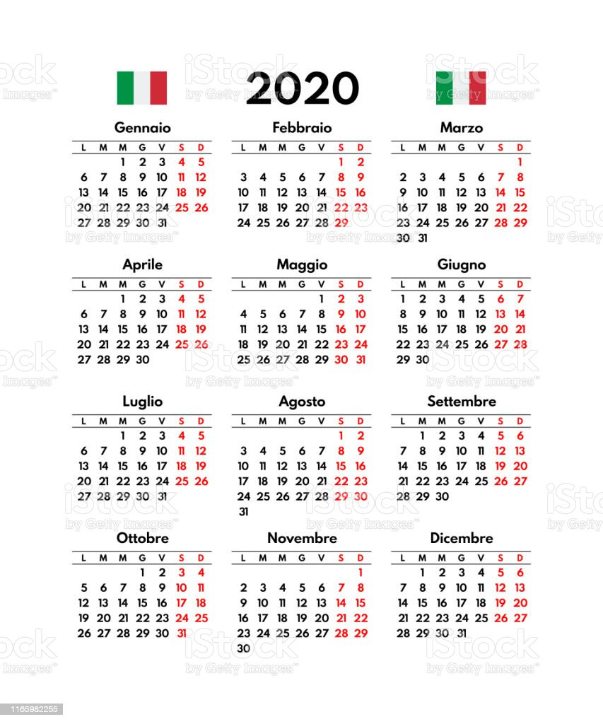 Calendario Fin 2020.Ilustracion De Simple 2020 Calendario Italiano Cuadricula