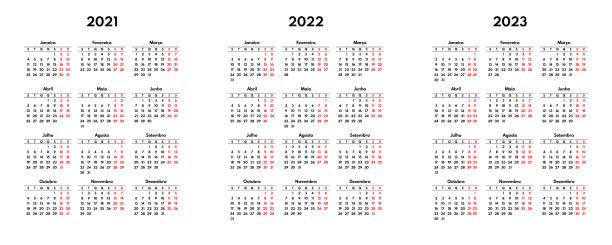 proste 2021 2022 2023 portugalski kalendarz siatki, rozpoczyna się w poniedziałek, dwa weekendy - kultura portugalska stock illustrations