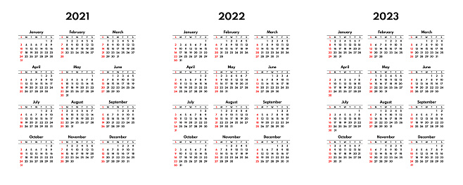 simple 2021 2022 2023 usa calendar grid, starts sunday